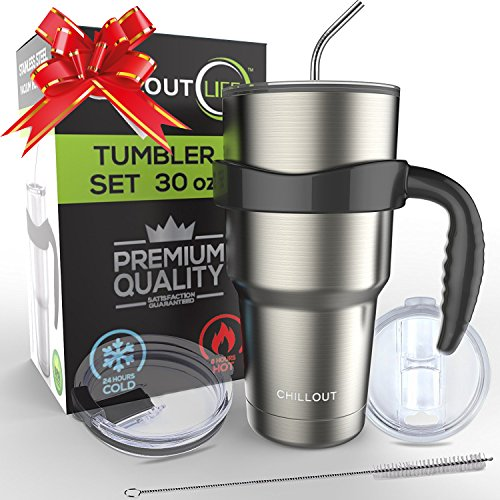 2 Piece Coffee Mug Set (Stainless Steel Travel Mug 30oz – 6 Piece Set. Tumbler with Handle, Straw, Cleaning Brush & 2 Lids. Double Wall Insulated Large Coffee Mug Bundle By CHILLOUT LIFE)