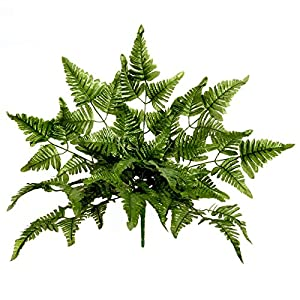 FloristryWarehouse Artificial Leather Leaf Fern Plant 20 Inches 10 stems of 7 Leaves 25