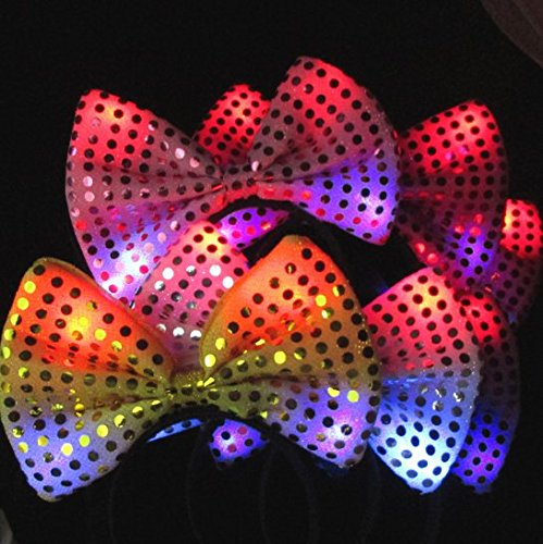 URbeauty 5PCS Flashing Colorful Luminous Hair Clip Night Shine Bowknot Headband Glowing Sequined Bow Hairband for Birthday Party Decoration Color Random