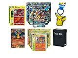100 Authentic Pokemon Cards with Guaranteed GX Card, Charizard EX, 5 Holos, 5 Rares, Uncommons/Commons, Pikachu Keychain and Ultra Pro Deck Box Pokemon Card Holder Bundle!