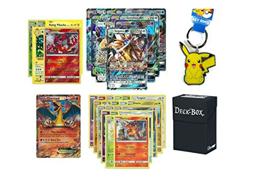100 Authentic Pokemon Cards with Guaranteed GX Card, Charizard EX, 5 Holos, 5 Rares, Uncommons/Commons, Pikachu Keychain and Ultra Pro Deck Box Pokemon Card Holder Bundle! by JMe Designs