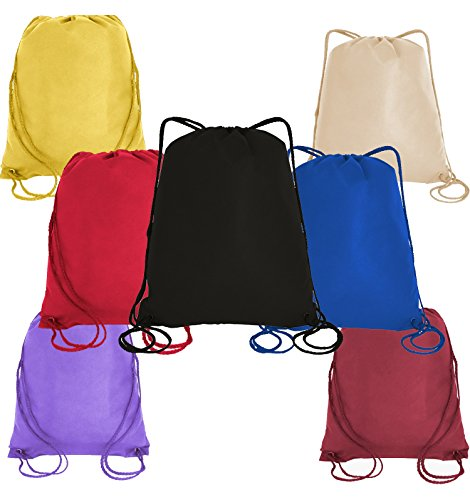 Pack of 12 Budget Friendly Well Made Non Woven Drawstring Bags 13.5