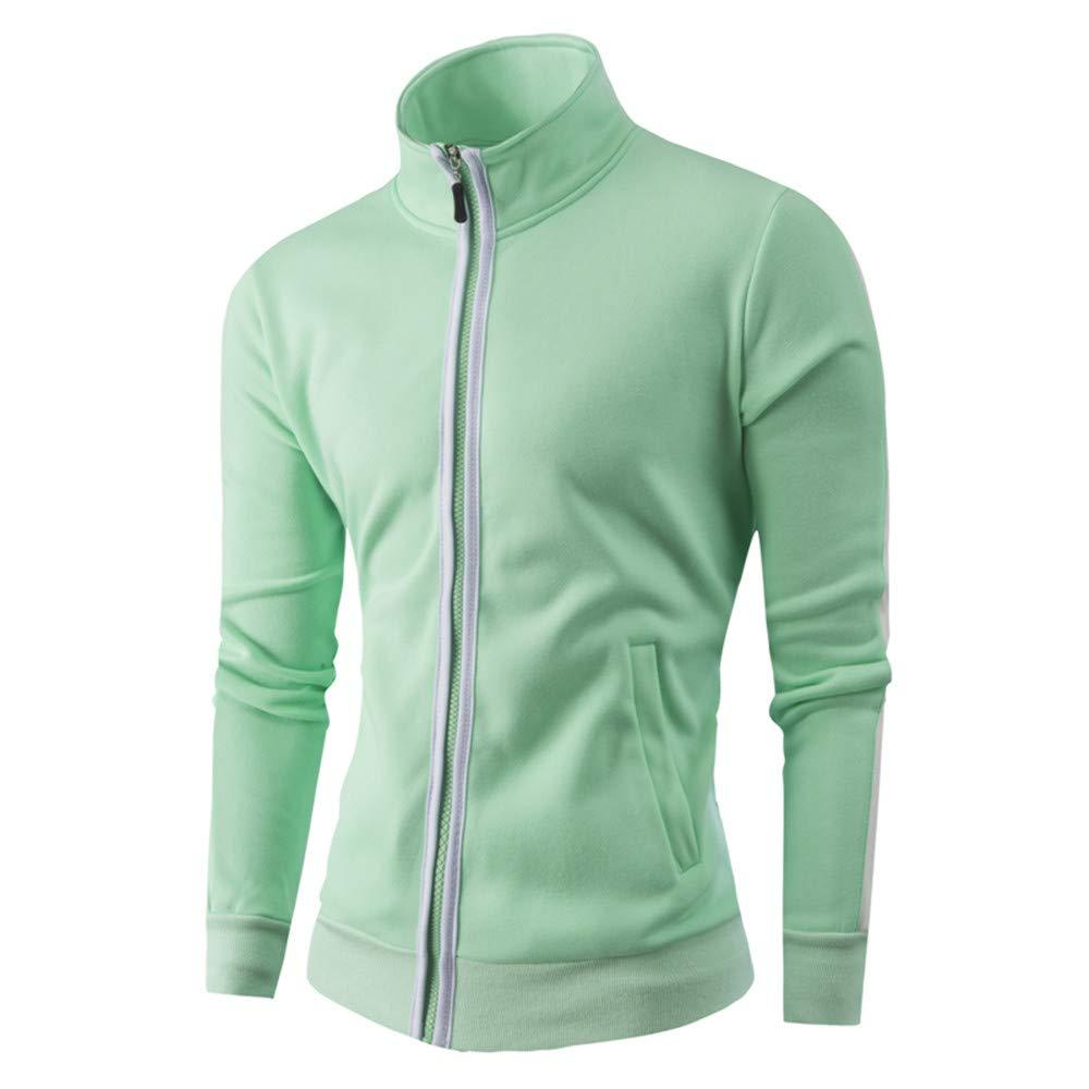 Faionny Mens Warm Jacket Stand Collar Jumper Slim Zipper Jacket Coat Solid Thick Coat Cardigan Winter Outwear