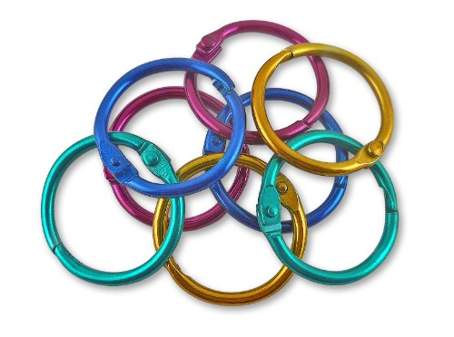 The Classics 1-Inch Diameter 50 Count Book Rings in Assorted Bright Colors (TPG-189) (Binder Rings Colored)