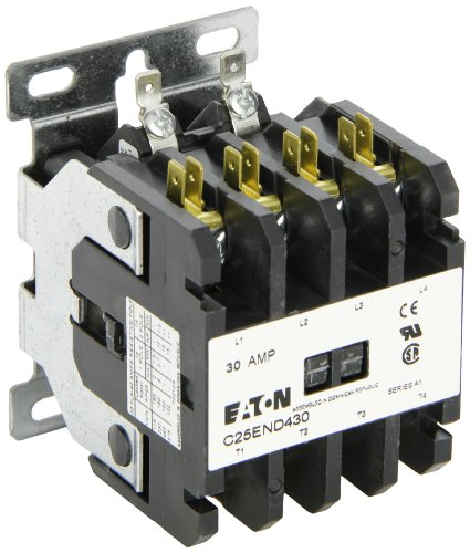 Single Pole Contactor 480vac Coil (Eaton C25END430A Definite Purpose Contactor, 50mm, 4 Poles, Screw/Pressure Plate, Quick Connect Side By Side Terminals, 30A Current Rating, 2 Max HP Single Phase at 115V, 10 Max HP Three Phase at 230V, 15 Max HP Three Phase at 480V, 120VAC Coil Voltage)