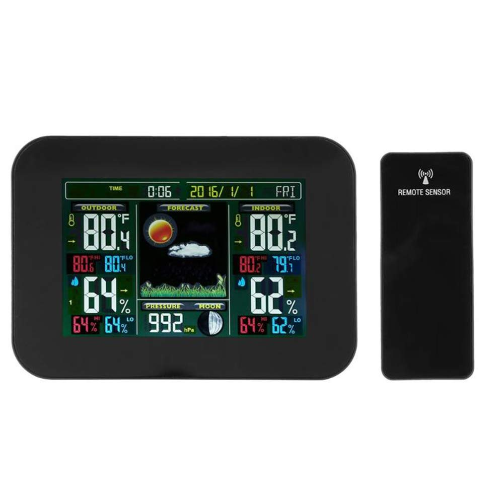 Traioy Wireless Digital Weather Station Temperature and Humidity Meter Color LCD Screen with Clock Quote, Suitable for Indoor and Outdoor,Black