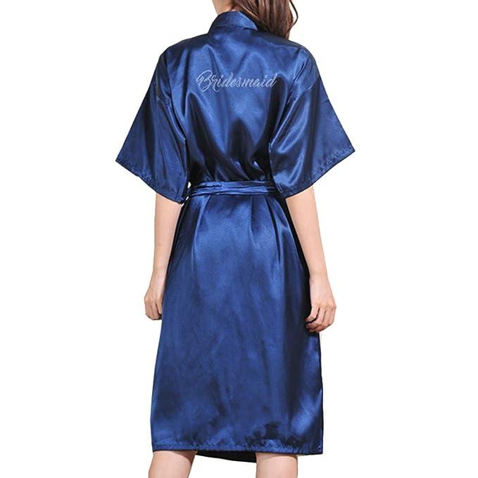 Juleya Mujeres Color Puro Largo Brillo Rhinestone Dama de Honor Kimono Batas Fiesta de Bodas Albornoz Ropa de Dormir: Amazon.es: Ropa y accesorios