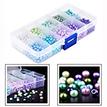 Cisixin 1000 Pieces 4 mm Round Glass Bead Pearl Imitation Beads with Storage Box for DIY Jewellery Making, 10 Colors