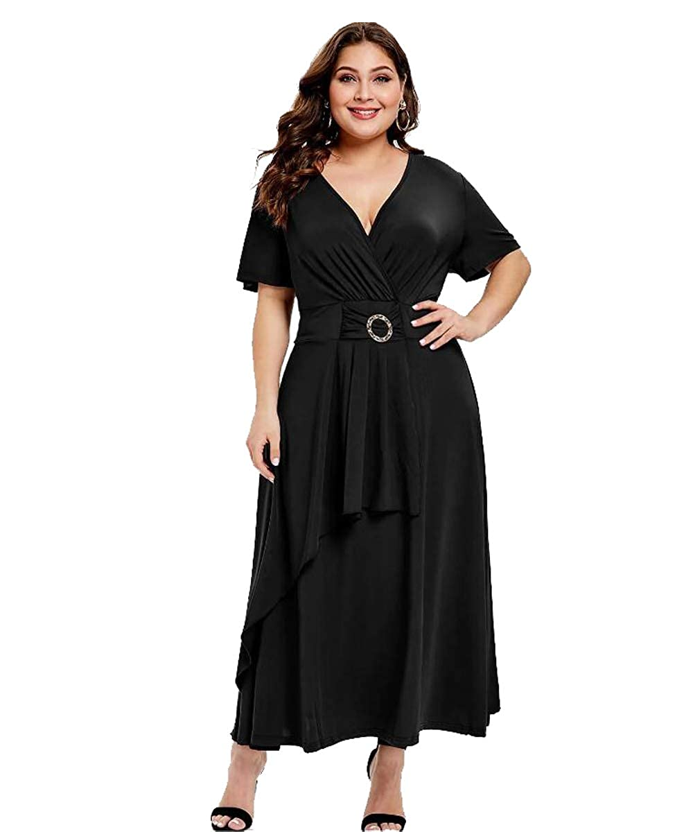 Titanic Dresses & Costumes | 1912 Dresses GMHO Womens Plus Size Elegance Hepburn Style V Neck Formal Dress 3/4 Puff Sleeve Puffy Swing Midi Cocktail Bride Mother Dress $27.99 AT vintagedancer.com