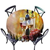Restaurant Tablecloth Wine Tasty Wine on Wooden Barrel on Grape Plantation Countryside Harvest Rural Growth Orange Red Black Soft and Smooth Surface D71