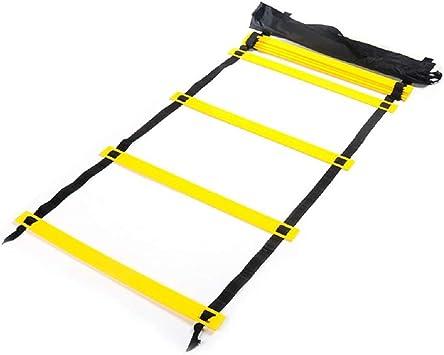 YLOVOW Escalera de Agilidad, Escaleras de Velocidad para fútbol Fútbol Entrenamiento de Agilidad de Velocidad, 2 Metros 4 Nudos Escalera de Salto Software de Escalera Entrenamiento Ritmo,Black: Amazon.es: Deportes y aire libre
