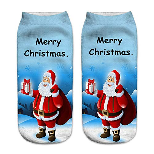 Mydufish Merry Christmas 3D Print Christmas Socks Women Snowman Santa Ankle Calcetines -