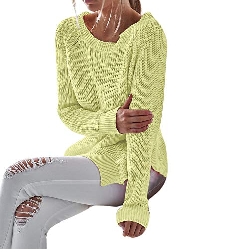 Sunhusing Women Loose Casual Bright Knit Pullover Long Sleeve O-Neck Split Hem (Split Cup Daffodil)