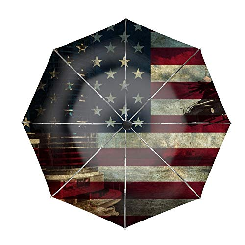 Travel Umbrella,Auto Open Close Folding Strong Windproof Helicopters American Flag Umbrella