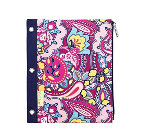 Ellison Pink Paisley 11 x 9 Polyester Fabric Zip Binder Pouch Pencil ()