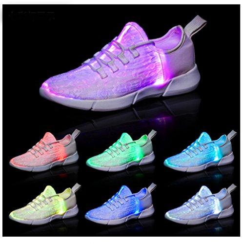 EliteShine Fiber Optic LED Light Up Shoes for Women Men USB Rechargeable Flashing Fashion Sneaker (Kid Size/Women Size/Men Size) (46/14 B(M) US Women/13 D(M) US Men, Black)