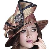 Womens High Fashion Ladies Hat Church Hat Black Brooch (Brown)