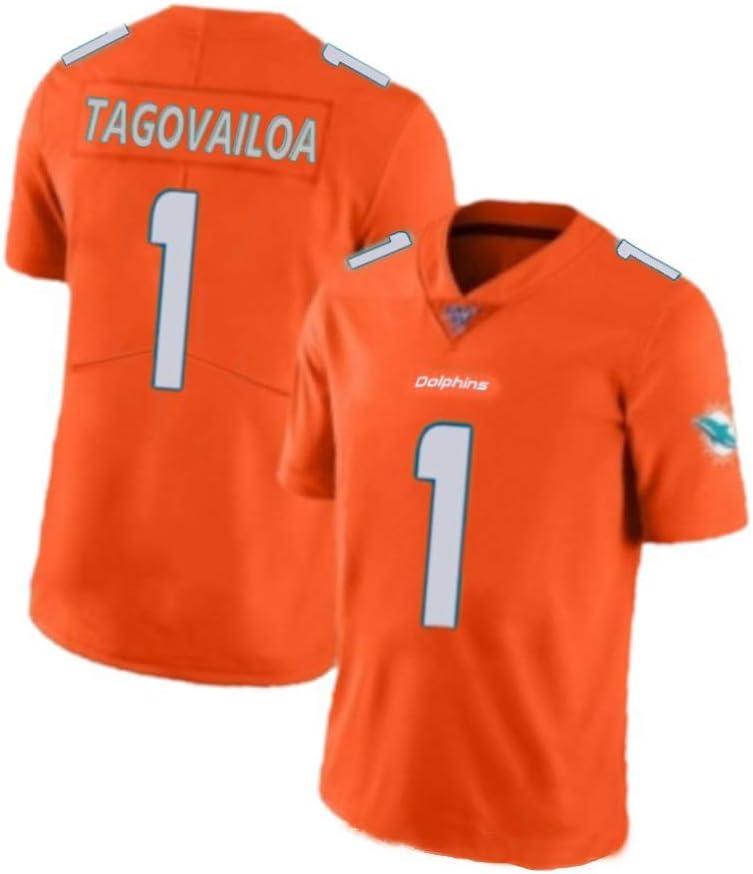 Jersey de Rugby 1 Tua Tagovailoa Miami Dolphins legendaria Camiseta de Rugby Camiseta Deportiva de Manga Corta Bordada Tela de algod/ón