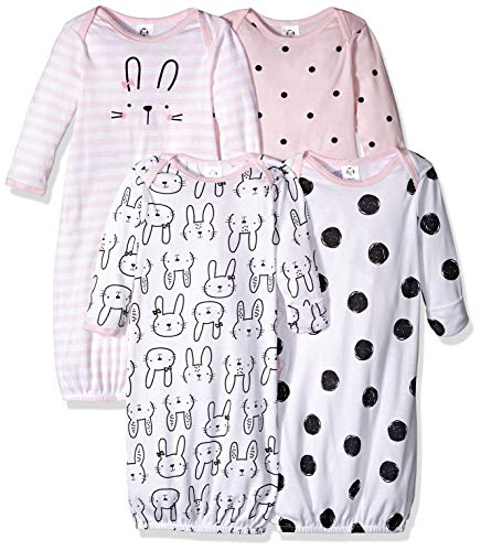 Gerber Baby Girls' 4-Pack Gown, Bunny, 0-6 Months