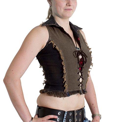 US Designer Mujer Jean Stop con cordones y flecos Dirty Denim / Hellbraun