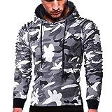 Mens' Long Sleeve Hoodie Sweatshirt Pullover Camouflage Hoodie Sweatshirt Tops Autumn Jacket Outwear (Gray, L)