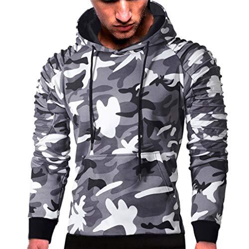 Mens' Long Sleeve Hoodie Sweatshirt Pullover Camouflage Hoodie Sweatshirt Tops Autumn Jacket Outwear (Gray, L) by Hattfart Hooded Sweatshirt (Image #4)