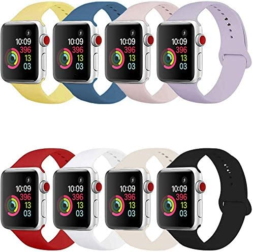 Compatible Band for Apple Watch 38mm 42mm 40mm 44mm, Soft Silicone Sport Strap Replacement Wristband for Apple Watch Series 6 5 4 3 2 1, Women Men, Small Large (8 Pack) (42mm/44mm S/M) (38mm/40mm S/M)