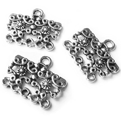 Heather's cf 47 Pieces Silver Tone Pattern Rectangle Spacer Connector Findings (6 Holes)Jewelry Making 19X16mm