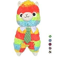 "TOLLION Cuddly Rainbow Stripe Alpaca Llama Lamb Toy -14"" Stuffed Animal Cushion Plush Doll Toys Valentine Gift New Baby Gift Lovers Anniversary Gift Fiesta Toy for Girlfriend Children Friends"