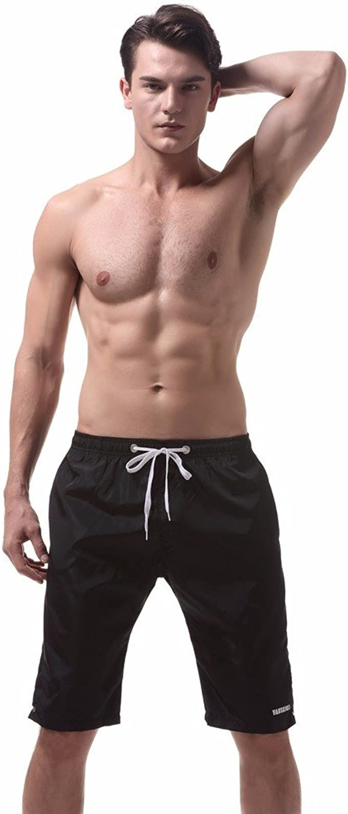 Mens Drawstring Kids Slim Fit Stretch Board Swim Shorts