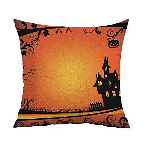 Halloween Bedding Soft Pillowcase Framework with Curvy Tree Branches Swirls Leaves Gothic Castle Festival Hypoallergenic Pillowcase W24 x L24 Inch Orange Yellow Black]()