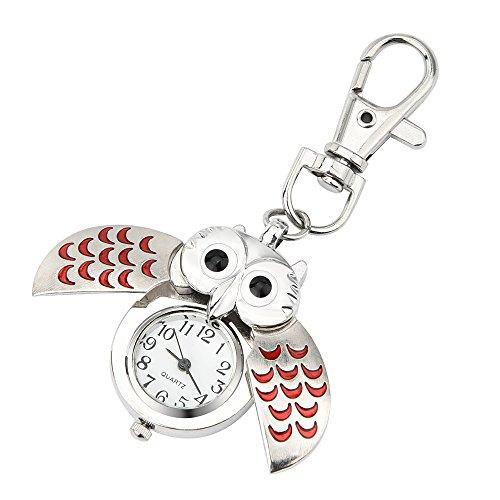 IslandseFashion Gorgeous Owl Watch Clip Pocket Keychain (Red)