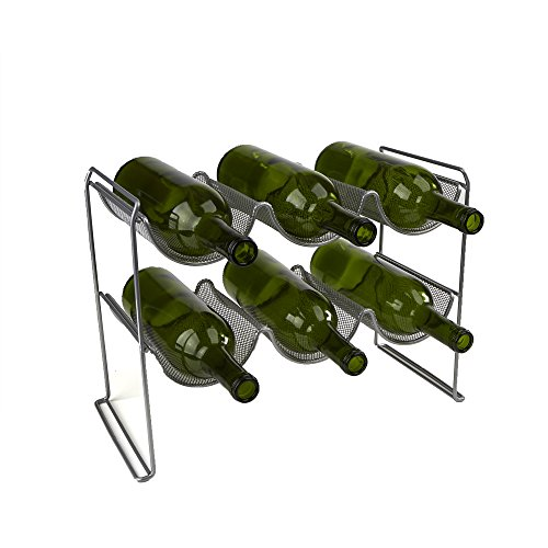 Cheap Mind Reader Wine Rack Stand Holds 6 Bottles of Wine, Wine Bottle Holder, Perfect for Bar, Wine Cellar, Countertop Organizer