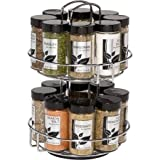 16-Jar Stainless Steel Revolving Spice Rack, Silver