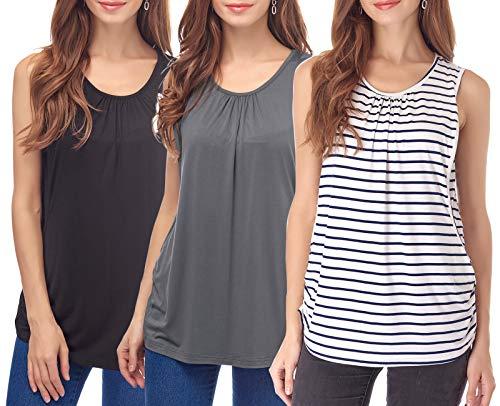 (Smallshow Women's Maternity Nursing Tops Breastfeeding Clothes XX-Large Dark Grey-Black-White Stripe)