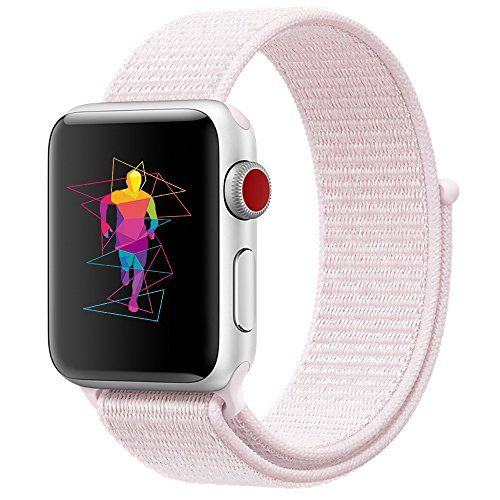 INTENY Sport Band Compatible for Apple Watch 42mm, Breathable Nylon Sport Loop, Strap Compatible for iWatch Series 3, Series 2, Series 1 (Pearl Pink, 42mm)