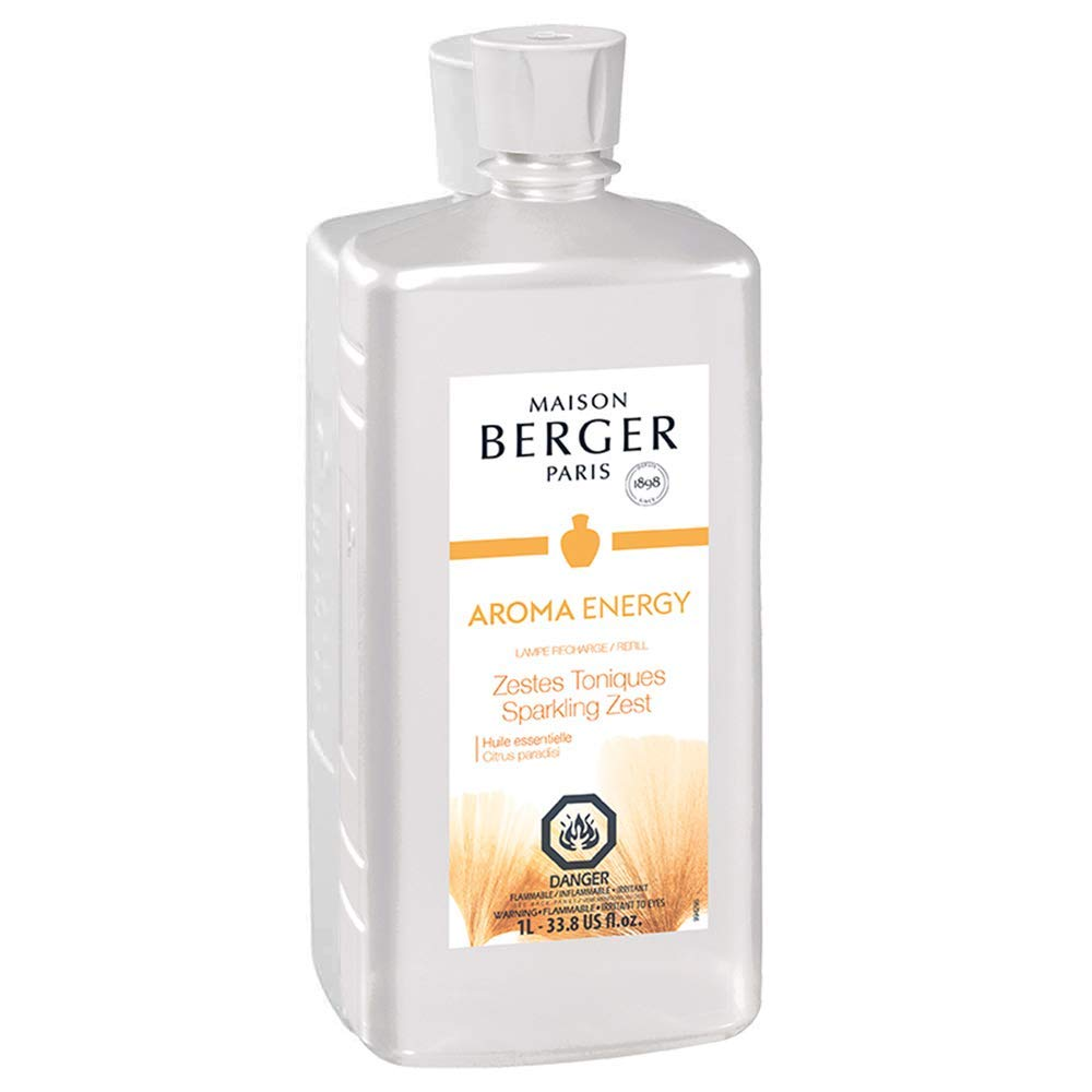 Sparkling Zest   Lampe Berger Fragrance Refill for Home Fragrance Oil Diffuser   Purifying and perfuming Your Home   33.8 Fluid Ounces - 1 Liter   Aroma Energy Essential Oil Made in France by MAISON BERGER