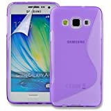 Connect Zone® Purple S Line Silicone Gel Case Cover for Samsung Galaxy A3 (A300F) + Screen Guard And Polishing Cloth