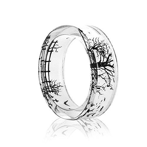 - New Arrival Handmade Bat & Tree Transparent Resin/Plastic Women/Men's Charm Ring (17mm/US#6.5)