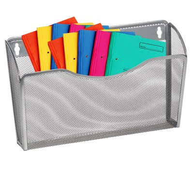 1InTheHome Mesh Collection Single Pocket Wall File Organizer - Silver