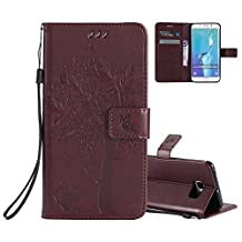 Galaxy S6 Edge Wallet Case Cover Embossed Flower Cat Wishing Tree Design Aeeque Shockproof Folio Flip Phone Cases Slim Fit Bumper Full Protection Cover Case for Samsung Galaxy S6 Edge, Brown