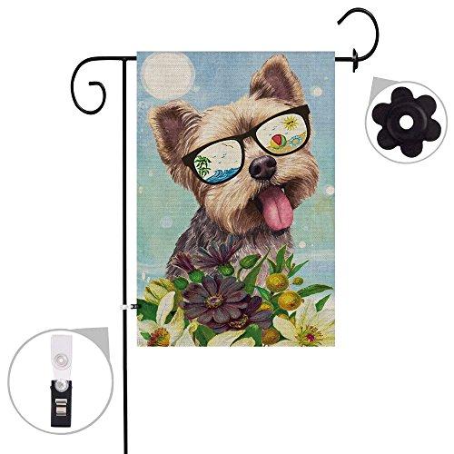 Garden Yorkie Flag - Bonsai Tree Yorkie Dog Burlap Garden Flag, Decorative Double Sided Animal Floral Yard Flag Banner 12 x 18 Prime