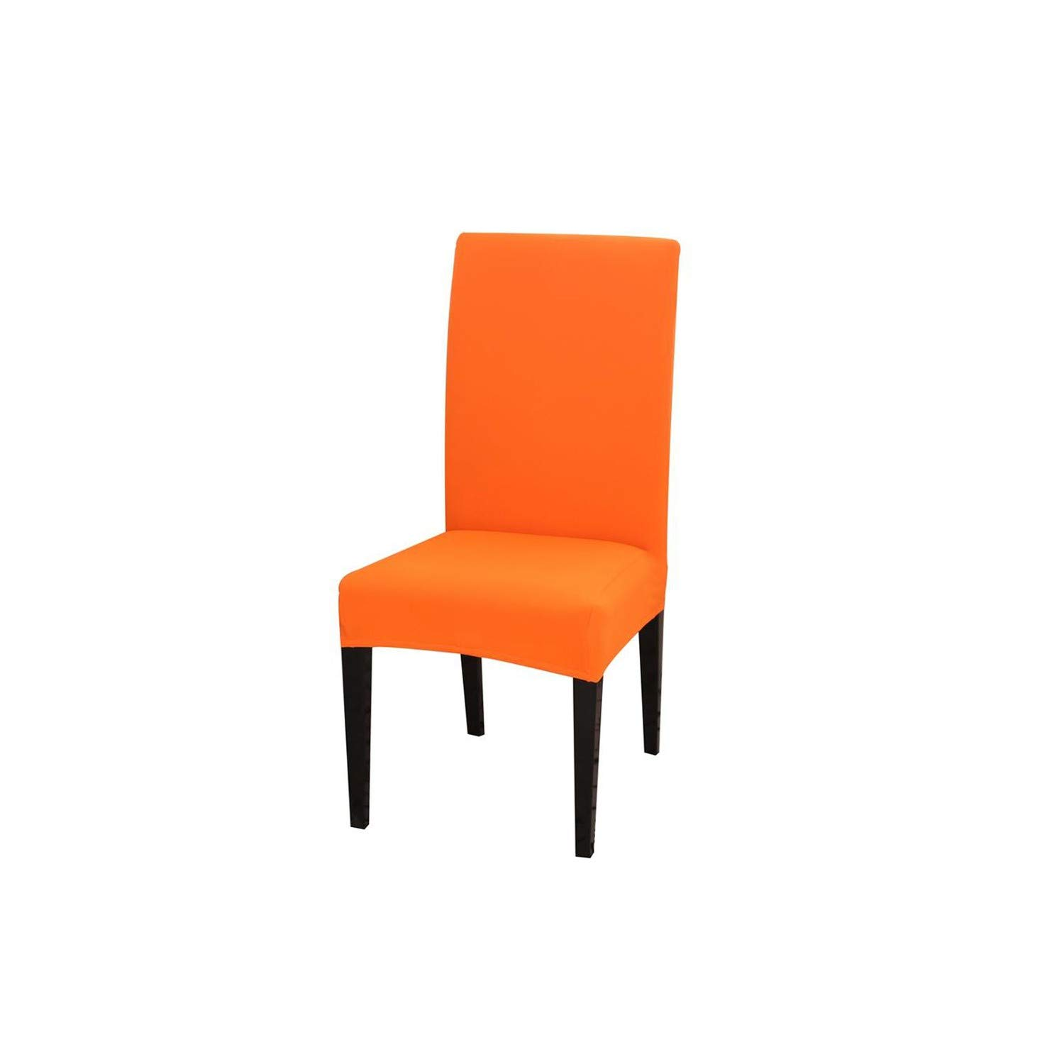 Huzzg Big Elastic Removable Dining Chair Cover Anti Dirty Flexible Solid Color Seat Case Folding Slipcover for Weddings Banquet,Orange,Universal Size