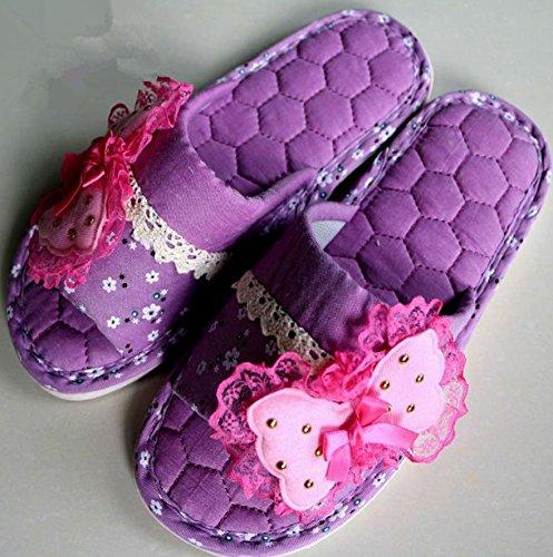 mhgao Ladies Fashion Home Interior antideslizante cálido Casual zapatillas morado