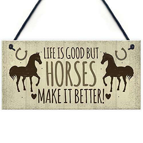 Horse Door Signs and Plaques Horses Make It Better Country Style Accessory Gift Sign for Horse Lovers ()