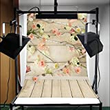LFEEY Hot Sale Fashion Vinyl Thin Backdrop,Light Absorption,Non-reflective,3x5ft Photography Background,Wooden Board Wall Floral Portraits Scene Attractive Backdrop,1(W)x1.5(H)m For Photo Studio Props