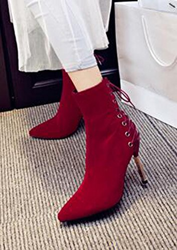 CHFSO Womens Elegant Solid Stiletto Ankle High Pointed Toe Lace Up Zipper High Heel Boots Red bCam3Pg