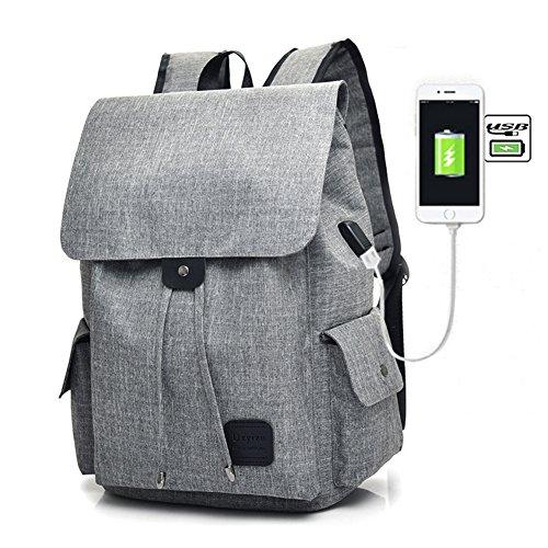 Fastar Mochila de Lona Mochila Portátil con Puerto de Carga Externa USB para Hombre y Mujer Gris