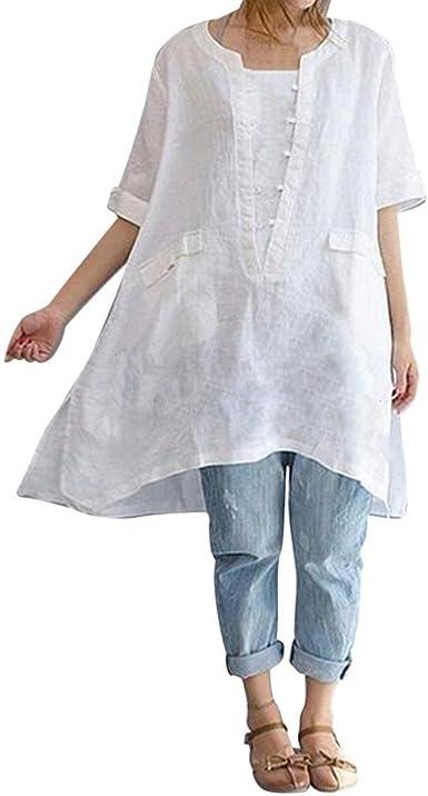 K-Youth Camisa Mujer Talla Grande Suelta Dobladillo Irregular ...