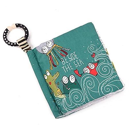 FYX 3 Pcs Libro de Tela Libro de Aclaramiento Ilustración Juguetes para Bebés Libro Blandos Rasgado de Animal Búho Perro Mono /(3 Pcs: Abeja + Pulpo+ Zorra/) FENGYINGXIU